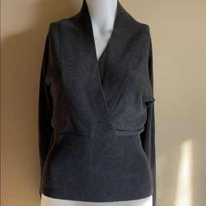 NWT Ann Taylor Wrap Front Sweater, Charcoal Grey S